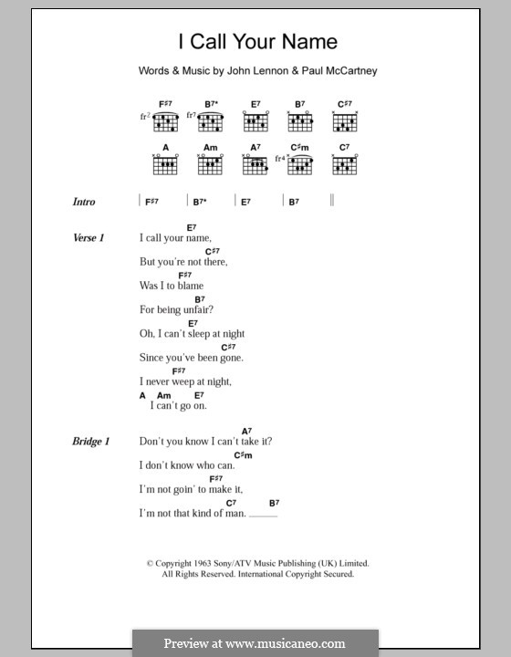 I Call Your Name (The Beatles): Lyrics and chords by John Lennon, Paul McCartney