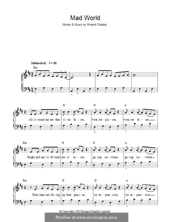 Mad World (Gary Jules & Michael Andrews): For easy piano by Roland Orzabal