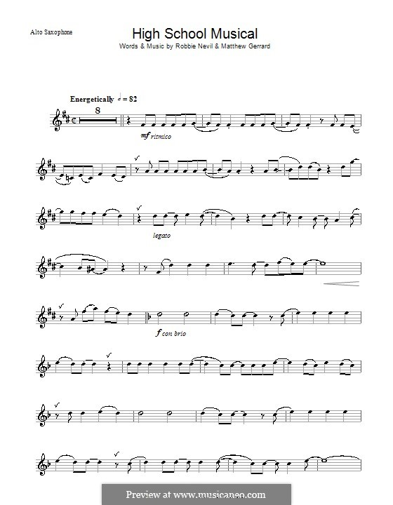 High School Musical (from High School Musical 3): For alto saxophone by Matthew Gerrard, Robbie Nevil