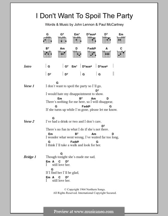 I Don't Want To Spoil the Party (The Beatles): Lyrics and chords by John Lennon, Paul McCartney