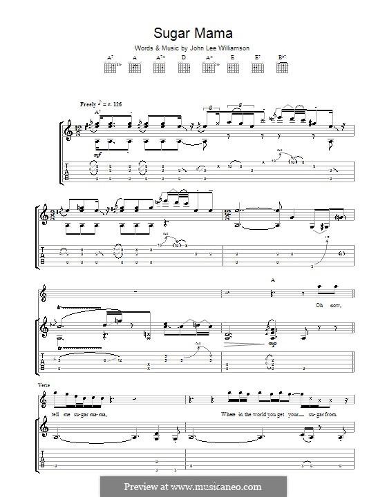 Sugar Mama (Taste): For guitar with tab by John Lee Williamson