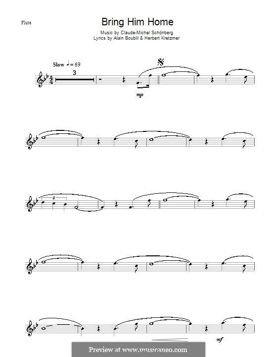 Bring Him Home: For flute by Claude-Michel Schönberg