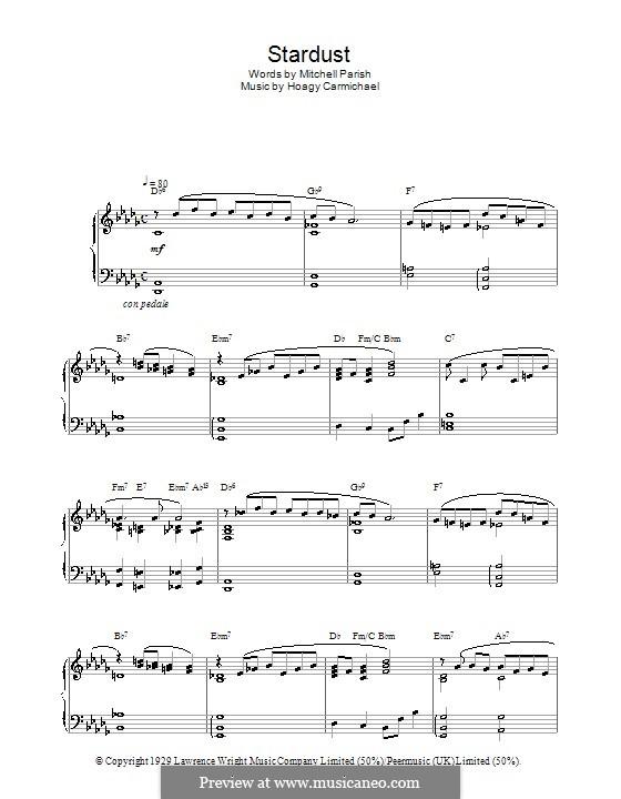 Stardust (Frank Sinatra): For piano by Hoagy Carmichael