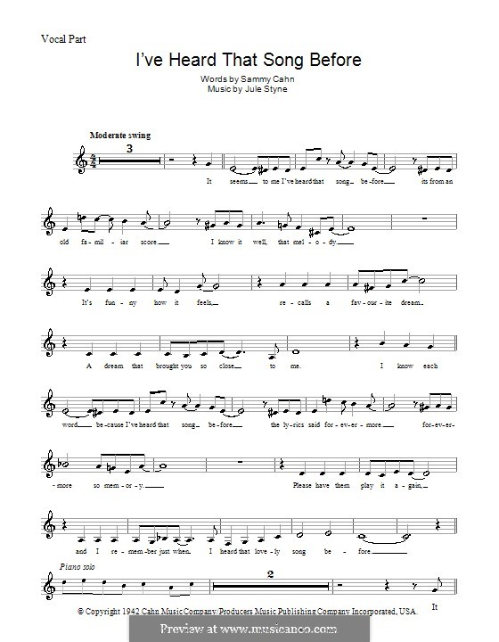 I've Heard That Song Before (Harry James): Melody line, lyrics and chords by Jule Styne