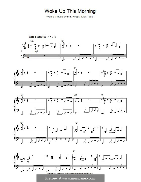 Woke Up This Morning: For piano by B.B. King, Jules Taub