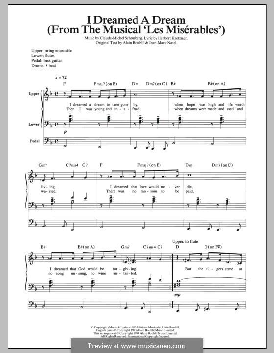 I Dreamed a Dream: For organ by Claude-Michel Schönberg