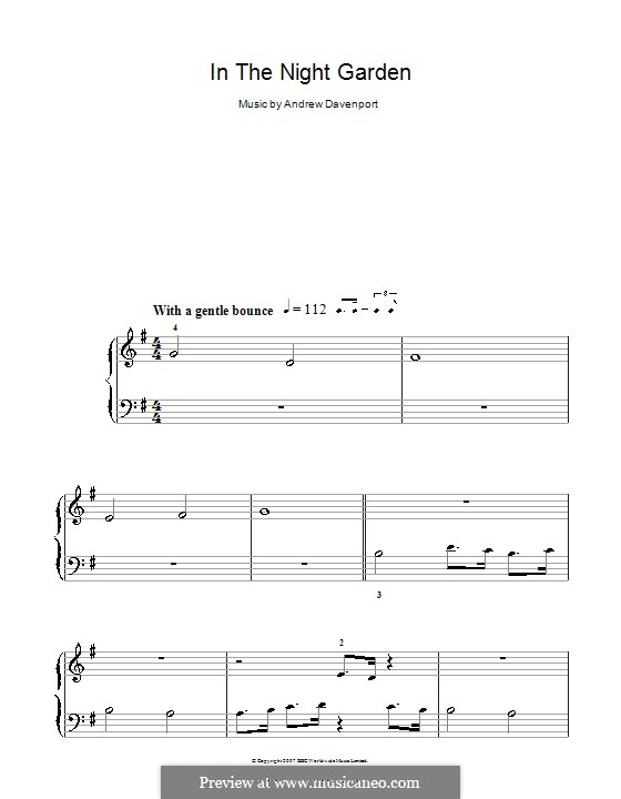 In the Night Garden: For easy piano by Andrew Davenport