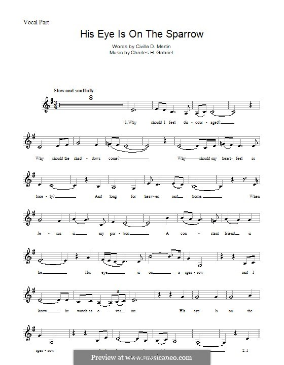His Eye Is on the Sparrow (Ethel Waters): Melody line, lyrics and chords by Charles Hutchinson Gabriel