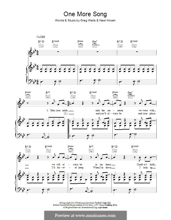One More Song (Boyzone): For voice and piano (or guitar) by Greg Wells, Nasri Atweh