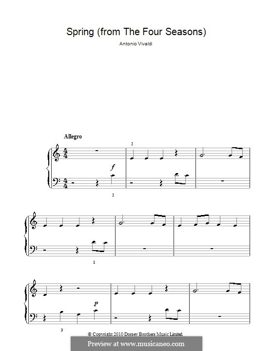 Violin Concerto No.1 in E Major 'La primavera', RV 269: Movement I (Theme). Version for easy piano by Antonio Vivaldi