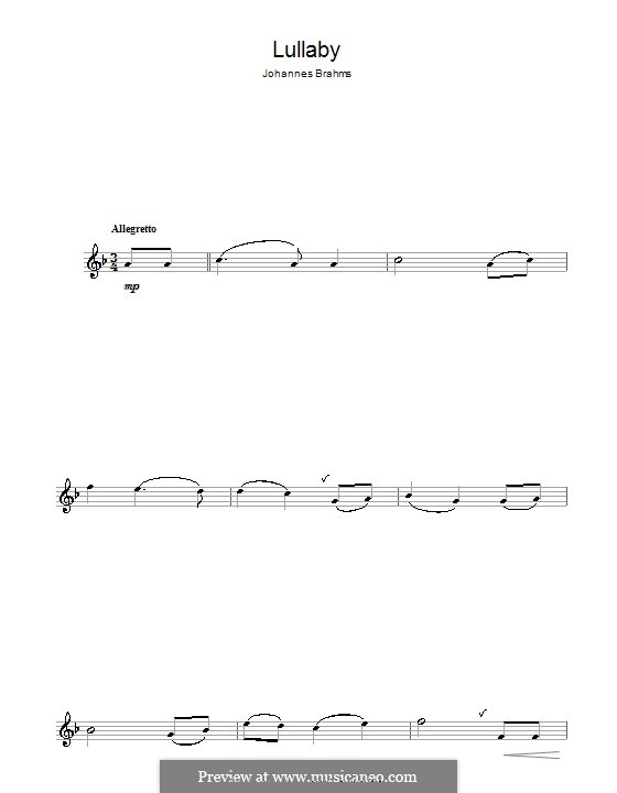 No.4 Cradle Song: For flute by Johannes Brahms