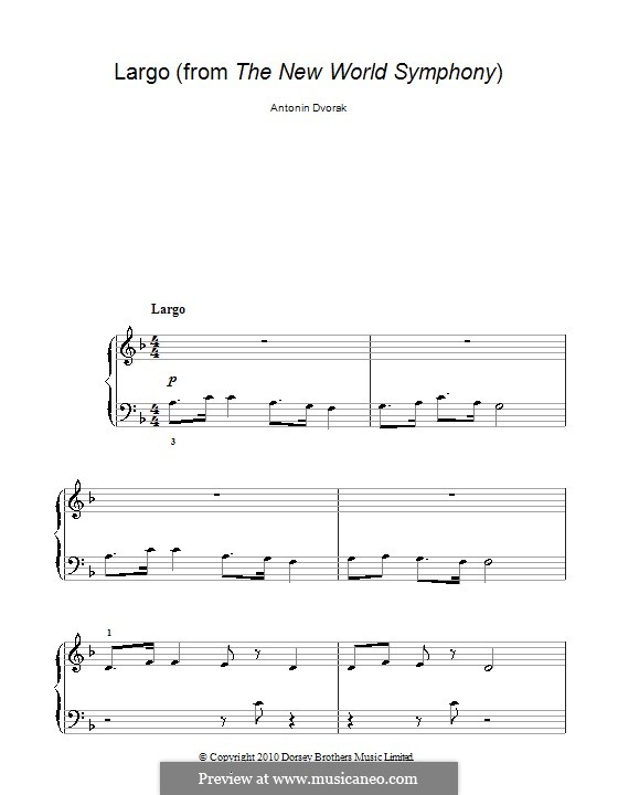 Movement II (Largo) Printable Scores: Theme, for easy piano by Antonín Dvořák