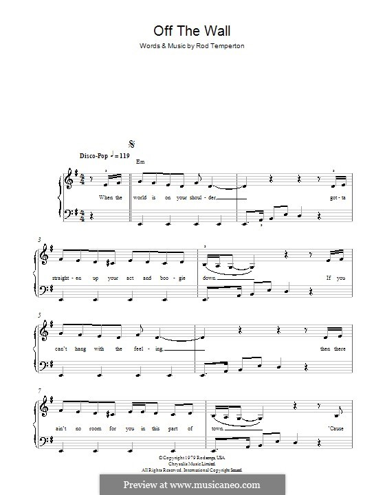 Off the Wall (Michael Jackson): For easy piano by Rod Temperton