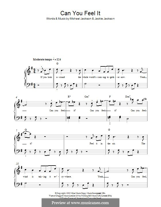 Can You Feel It (The Jacksons): For easy piano by Jackie Jackson, Michael Jackson