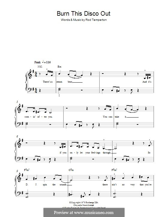 Burn This Disco Out (Michael Jackson): For easy piano by Rod Temperton