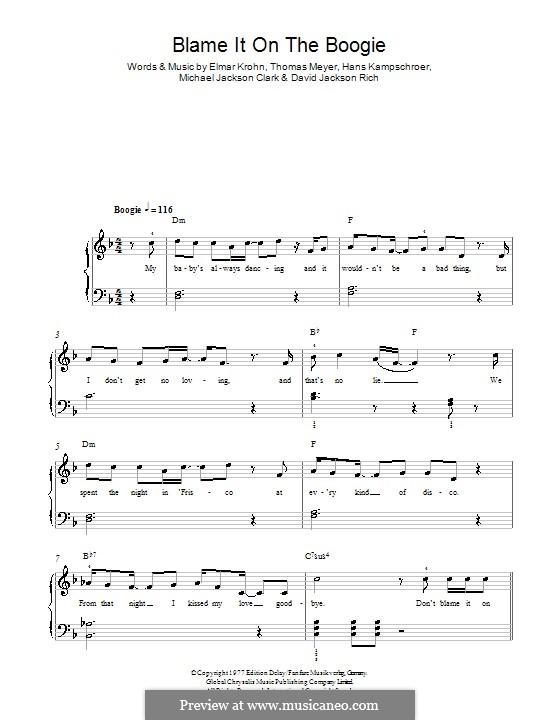 Blame It on the Boogie (The Jackson 5): For easy piano by David Jackson Rich, Elmar Krohn, Hans Kampschroer, Michael Jackson Clark, Thomas Meyer