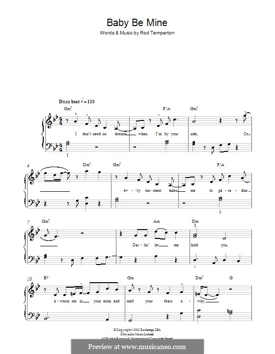 Baby Be Mine (Michael Jackson): For easy piano by Rod Temperton
