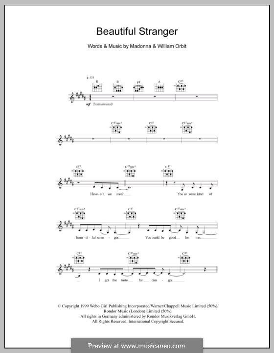 Beautiful Stranger: Melody line, lyrics and chords by Madonna, William Orbit