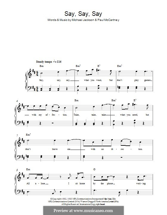 Say Say Say: For easy piano by Michael Jackson, Paul McCartney