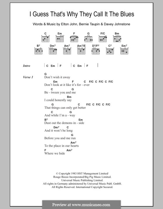 I Guess That's Why They Call It the Blues: Lyrics and chords by Davey Johnstone, Elton John