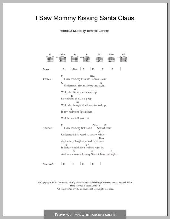 I Saw Mommy Kissing Santa Claus: Lyrics and chords (Andy Williams) by Tommie Connor