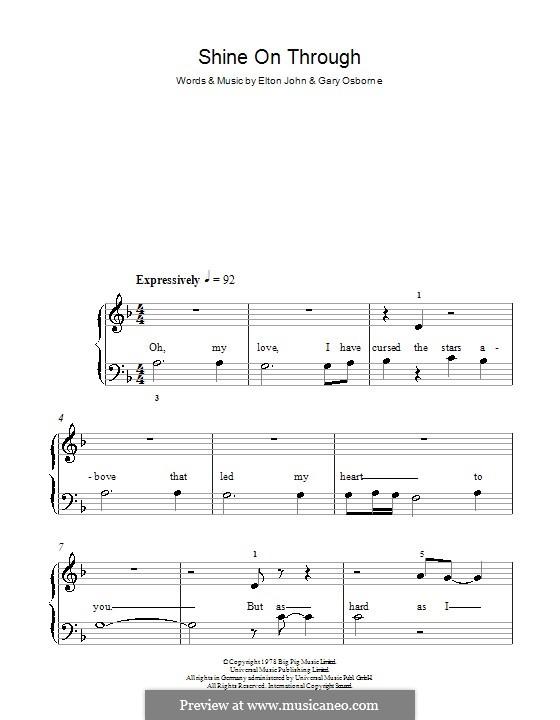Shine on Through: For easy piano by Elton John, Gary Osborne
