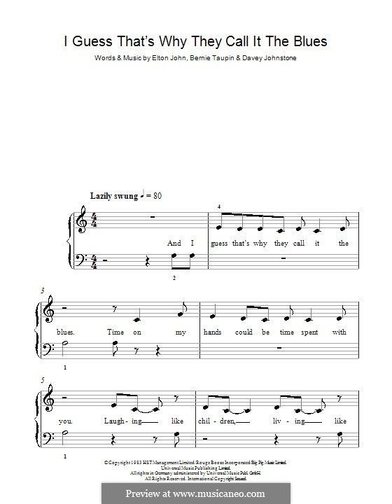 I Guess That's Why They Call It the Blues: For easy piano by Davey Johnstone, Elton John