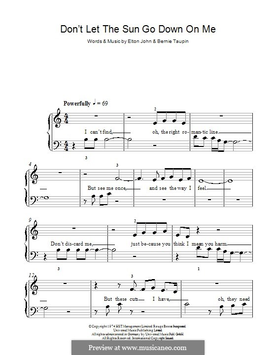 Don't Let the Sun Go Down on Me: For easy piano by Elton John