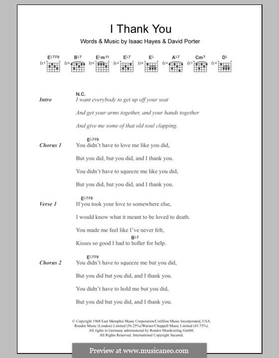 I Thank You (Sam & Dave): Lyrics and chords by David Porter, Isaac Hayes