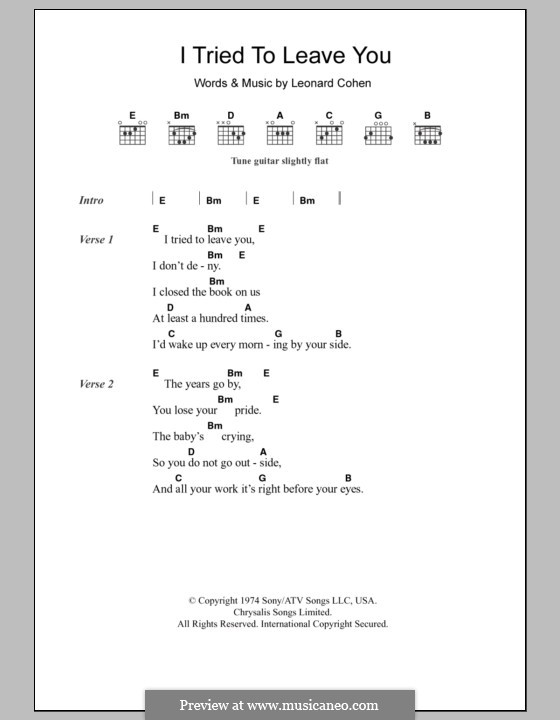 I Tried to Leave You: Lyrics and chords by Leonard Cohen