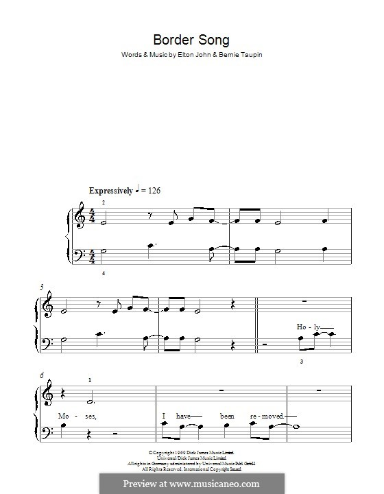 Border Song: For easy piano by Elton John