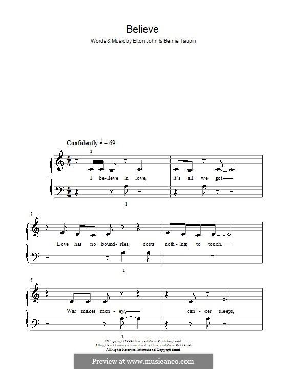 Believe: For easy piano by Elton John