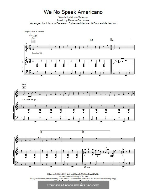 We No Speak Americano: For voice and piano (or guitar) by Renato Carosone