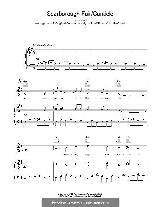 Scarborough Fair / Canticle: For voice and piano (or guitar) by folklore