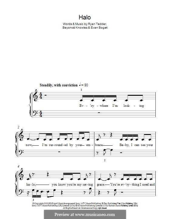 Halo: For easy piano by Beyoncé, Evan Kidd Bogart, Ryan B Tedder