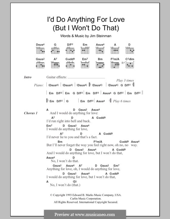 I'd Do Anything for Love (But I Won't Do That): Lyrics and chords (Meat Loaf) by Jim Steinman