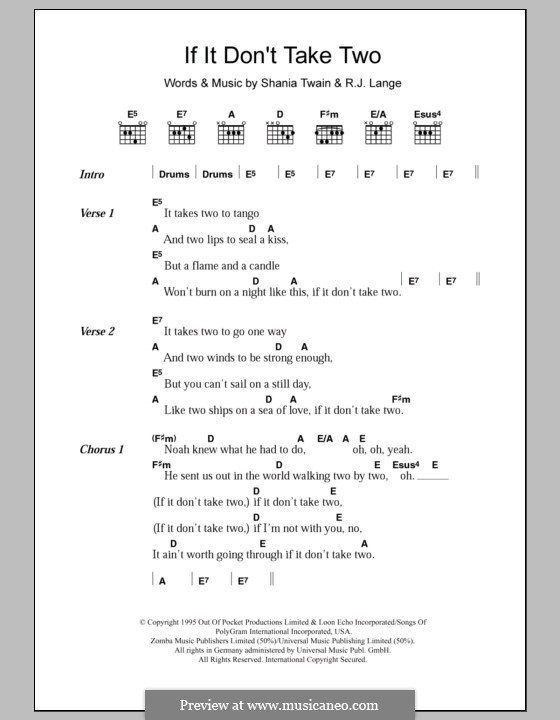 If It Dont Take Two By Rj Lange S Twain Sheet Music On Musicaneo