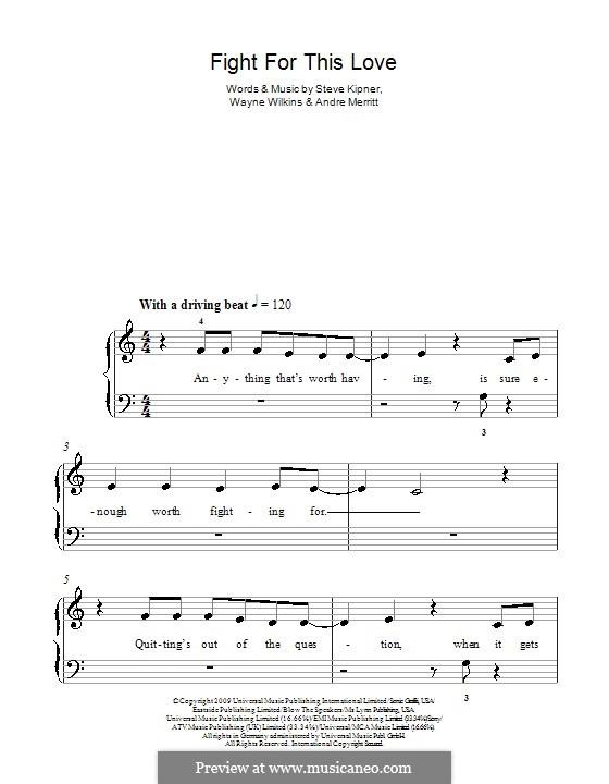 Fight for This Love (Cheryl Cole): For easy piano by Andre Merritt, Stephen Alan Kipner, Wayne Wilkins