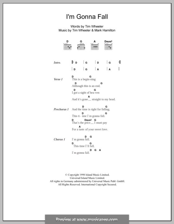 I'm Gonna Fall (Ash): Lyrics and chords by Tim Wheeler, Mark Hamilton