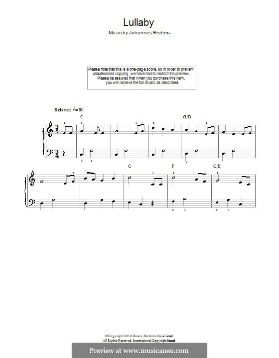 No.4 Cradle Song (Printable scores): For easy piano by Johannes Brahms