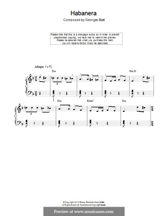Habanera: Version for easy piano (with chords) by Georges Bizet