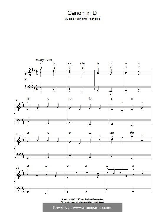 Canon in D Major (Printable): Very easy version by Johann Pachelbel