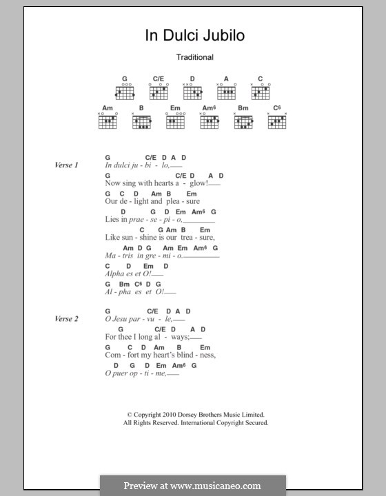 In dulci jubilo: Lyrics and chords by folklore