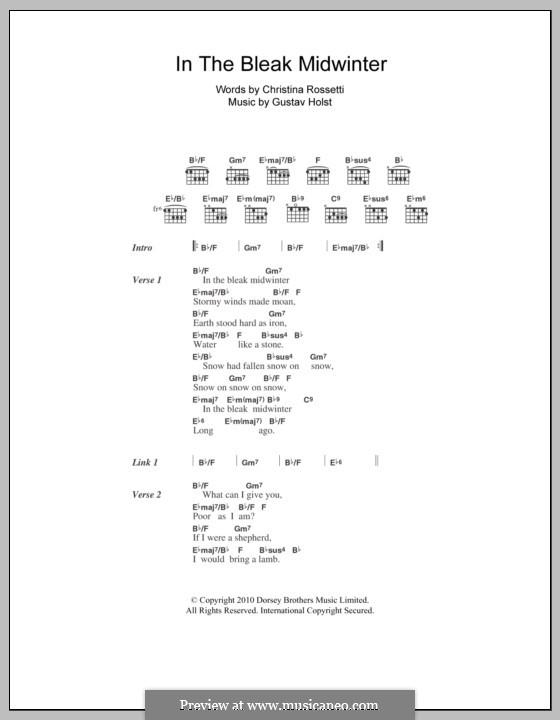 In the Bleak Midwinter: Lyrics and chords by Gustav Holst