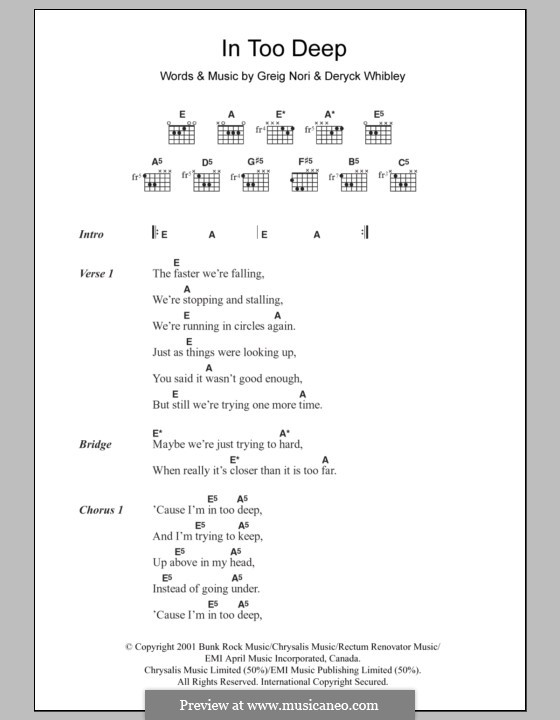 In Too Deep (Sum 41): Lyrics and chords by Deryck Whibley, Greig Andrew Nori