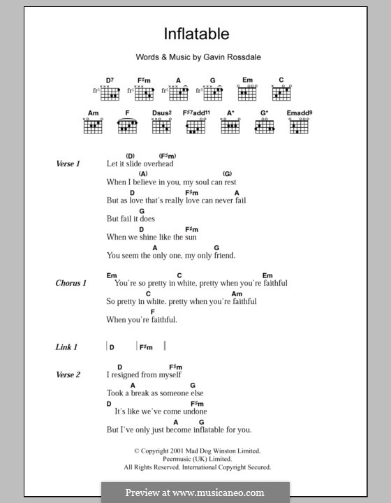 Inflatable (Bush): Lyrics and chords by Gavin Rossdale