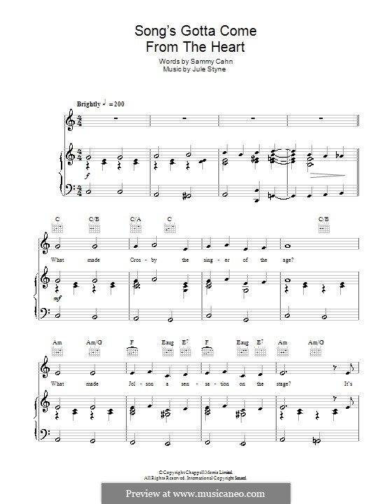 The Song's Gotta Come from the Heart (Frank Sinatra): For voice and piano (or guitar) by Jule Styne