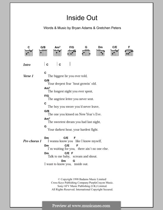 Inside Out: Lyrics and chords by Bryan Adams, Gretchen Peters