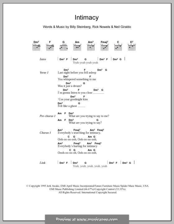Intimacy (The Corrs): Lyrics and chords by Billy Steinberg, Neil Giraldo, Rick Nowels