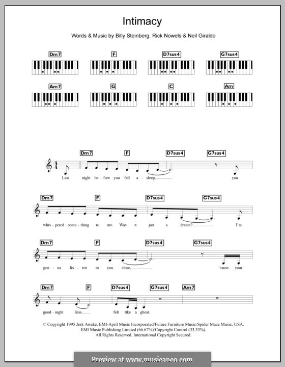 Intimacy (The Corrs): For keyboard by Billy Steinberg, Neil Giraldo, Rick Nowels